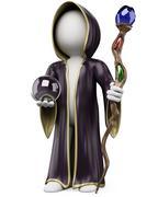 3d white people. halloween sorcerer costume - stock illustration