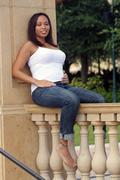 beautiful multiracial woman five months pregnant (6) - stock photo