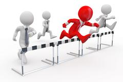 businessmen in a hurdle race with the leader at the head - stock illustration