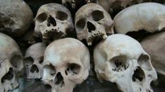 Skulls and bones in Killing field, cambodia, moving camera Stock Footage