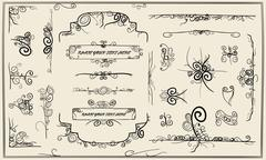 Collection of swirly design elements Stock Illustration