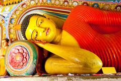 reclining buddha in isurumuniya temple, anuradhapura, sri lanka - stock photo