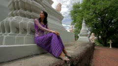 Asian Girl with Traditional Clothes in Temple Stock Footage