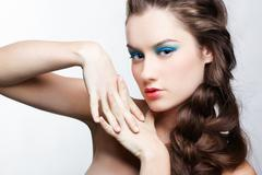 girl with creative hair-do - stock photo