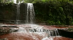 Waterfall in Borneo ranforest river Stock Footage