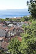 view of the old town of omis - stock photo