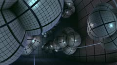 flight inside alien complex spherical structures n1032B - stock footage