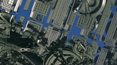 Flight inside alien complex of steel structures n1106B Stock Footage