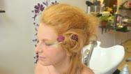 Model putting makeup Stock Footage