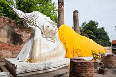 big reclining buddha in wat yai chai mongkol - stock photo