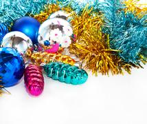 Color christmas balls and toys background Stock Illustration