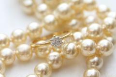solitaire diamond ring on pearls - stock photo