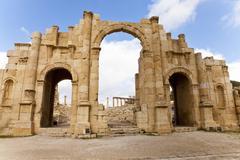 South gate of ancient jerash, jordan Stock Photos