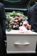 Valkoinen arkku harmaa ruumisauto Kuvituskuvat