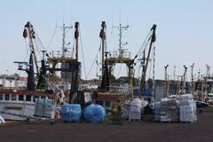 fishing trawlers in the harbour - stock photo