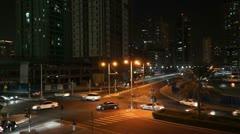 05 Traffiv at Night Kreuzung von oben FM Stock Footage