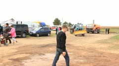 Rallycross rally service park steadicam shot Stock Footage