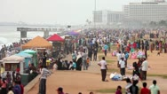 SRI LANKA - MARCH 2012: thousands of people at beach Stock Footage