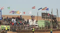 Crowd tribunes people in rallycross - stock footage
