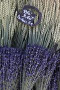 Lavender and wheat bouquets Stock Photos