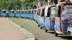 Colorful tuktuk in jakarta, indonesia Stock Footage