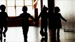 4 kids walk together Stock Footage