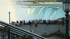 Wide shot of Tourists at Niagara Falls Stock Footage