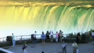 Stock Video Footage of Tourists at Niagara Falls at Sunrise Sunset