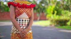 Iban tribal woman with traditional clothes Stock Footage