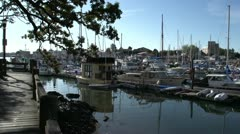 Marina, pan to houseboat Stock Footage