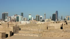 Stock Video Footage of city view from Qal'at al-Bahrain fort