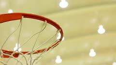 scoring basket in basketball court - stock footage