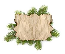 Old parchment paper with copy space on christmas tree branch background Stock Photos