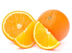 whole orange fruit and his segments or cantles - stock photo