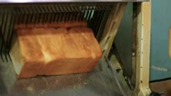 Stock Video Footage of bread machine cutting into slices