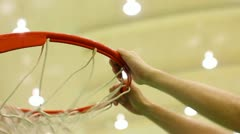 Basketball sequence, scoring baskets court Stock Footage