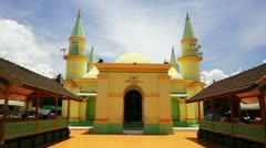 Sultan Riau Mosque, Penyengat Island. Walls painted with egg Stock Footage