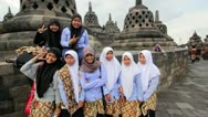 Stock Video Footage of BOROBUDUR - MAY 2012: indonesian students visiting borobudur, indonesia