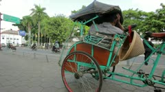 Transportation with cyclo in indonesia Stock Footage