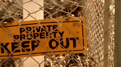 Private property sign keep out cutaway transition immigration reform Stock Footage