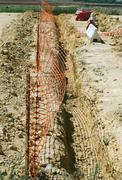 excavated channel for tube - stock photo