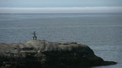 Lonely inushuk on rocky island looking to sea Stock Footage