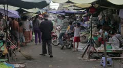 PHNOM PENH - JUNE 2012: local asian market general view Stock Footage