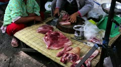 unhygienic meats on ground without ice in asian market - stock footage