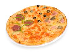 pizza four in one, clipping path - stock photo
