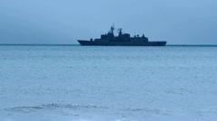 Warship patrolling in the ocean Stock Footage