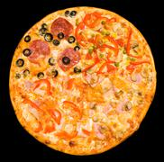 four seasons pizza, clipping path - stock photo