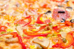 pizza, macro - stock photo