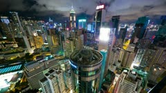 Stock Video Footage of Hong Kong at night from roof, timelapse