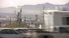 Freeway and pollution - stock footage